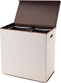 SUPERJARE Double Laundry Hamper/Sorter with Removable Liners & Magnetic Lid, Collapsible Clothes Basket, Built-in Handles for Easy Carrying, 2 Dividers, Linen Cream