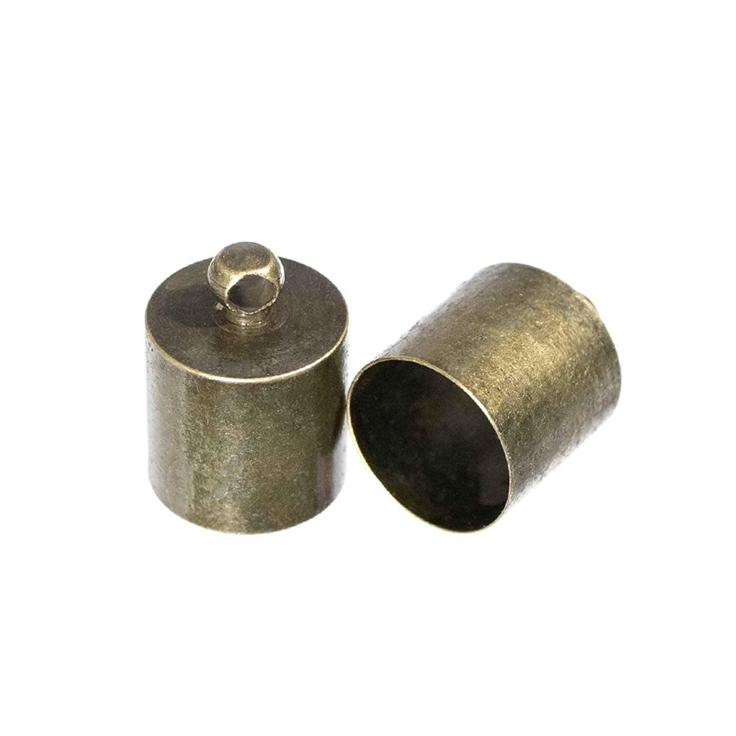 Barrel Cord End Caps – Pack of 2 – Choose from Bronze or Silver – Available in a Variety of Sizes – Great for Crafts, Decoration, Repairs, and Jewelry Making