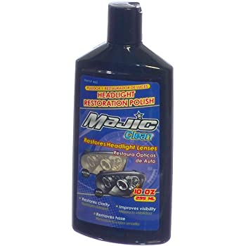 Majic Headlight Lens Cleaner & Sealant, Restores Clarity and Removes Haze from Translucent Plastics, 10 Oz.