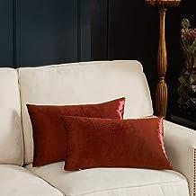 GIGIZAZA Decorative Small Lumbar Pillow Covers,Cushion Covers Velvet Burnt Orange Pillows,Sofa Throw 12 X 20 Pillow Covers