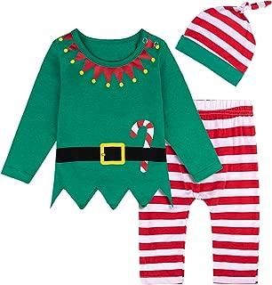 COSLAND Baby 3PCS Elf Christmas Costume Long Sleeve Sets