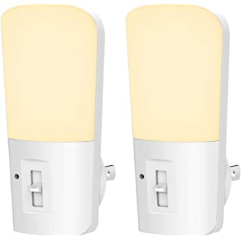 LOHAS Plug in Night Light, Dimmable LED Night Lights with Dusk to Dawn Sensor, Soft White 3000K Sleep Nightlight, Adjustable Brightness 5-80lm Mini Light for Nursery Kids Room Hallway Kitchen, 2 Pack
