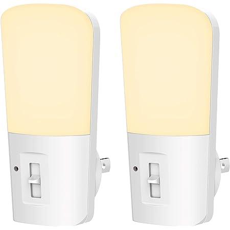 LOHAS Plug in Night Light, Dimmable LED Night Lights with Dusk to Dawn Sensor, Soft White 3000K Sleep Nightlight, Adjustable Brightness 5-80lm Mini Light for Nursery Kids Room Hallway Kitchen, 2 Pack
