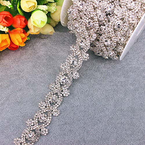 Fabrichouse 1Yard Beaded Rhinestone Trim Belt Flower Crystal Cup Chain Trim for Dress Wedding Gown Belts and Sash DIY Clothes Decor Jewelry Making Clothes Accessory (Silver)