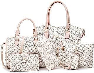 Set of Large Capacity Ladies Bag Hand Bag Shoulder Bag 6pcs Satchels Top Handle Shoulder Crossbody Bags (Color : White, Size : L)