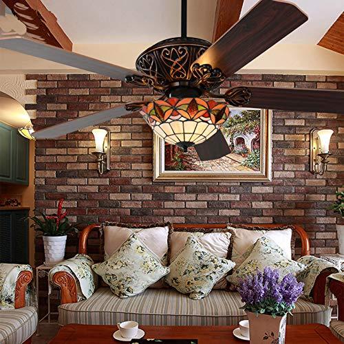 Luz del ventilador de techo de estilo Tiffany, fachada de la vendimia de 42 pulgadas con cuchillas retráctiles E27 Las cuchillas de madera de madera pueden ser hacia adelante y reversa,122cm