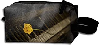 scakoko Travel Makeup Bag Case for Women Piano and Flower Storage Cosmetic Bags