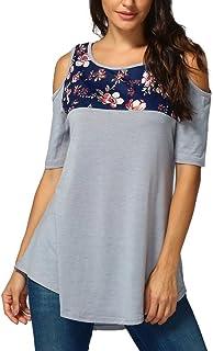 22593677638 FORUU T Shirts Women Floral Printing Off Shoulder Short Sleeve Tops Blouse