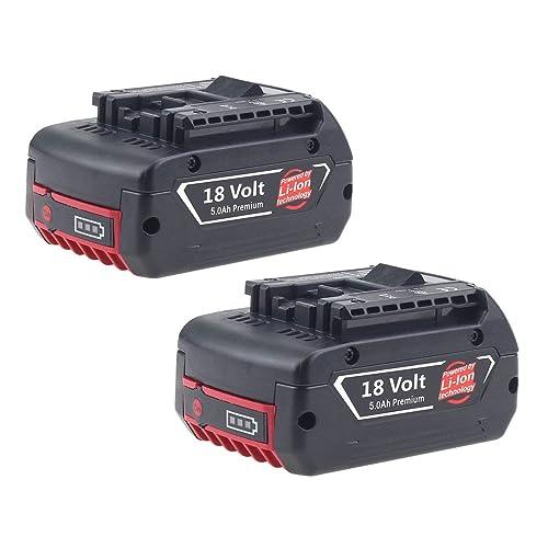 2X Reoben pour Bosch 18V 5.0Ah Li-ion Remplacement Batterie 1600A002U5 BAT621 BAT609 BAT609G BAT610G BAT618G BAT618 BAT619 BAT619G BAT620(With LED Indicator)