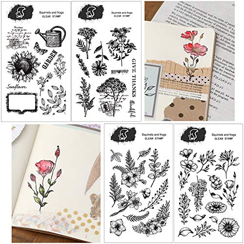 Nuluxi Blume Motive Transparente Briefmarke Pflanze Silikon Stempel Seal Pattern Transparent Silikon Stempel DIY Scrapbooking Craft Briefmarken Funktionieren Gut mit Allen Tinten Papier und Stoff