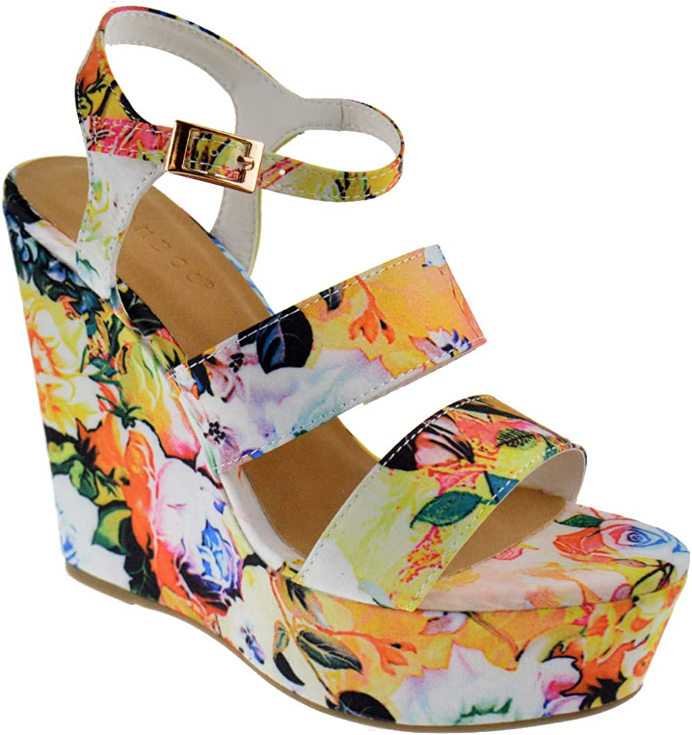 BAMBOO Charade 24 M Womens free shipping Sandals Fabric Lace Platform Wedge Super sale period limited