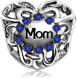 JMQJewelry Mother Mom Heart Love Birthday Birthstone Charms For Bracelets Women Jewelry