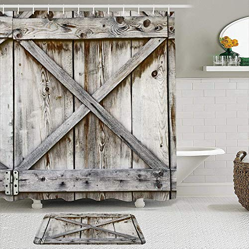 Minalo 2 Piece Shower Curtain Set with Non-Slip Bath Mat,Door Plank Wooden Wall Old History Barn Abstract Wood Hinges Rustic Shed,12 Hooks,Personalized Bathroom Decor