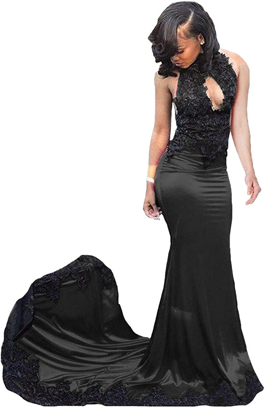Fair Lady Sexy Black High Neck Mermaid Lace Prom Dresses Long Backless  Bridesmaid Dresses Evening Gowns