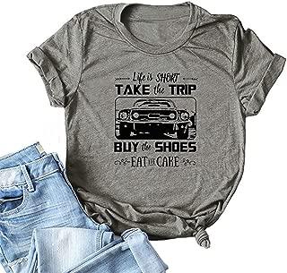 JBF Cloth Women's Life is Short Take The Trip T Shirt Inspirational Saying Short Sleeve Graphic Tops Tees