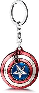 VNFLY Captain America Keychain, Shield Keychain, Captain America Spinning Shield Keychain Shield Keyring (Red, Rotative Ve...