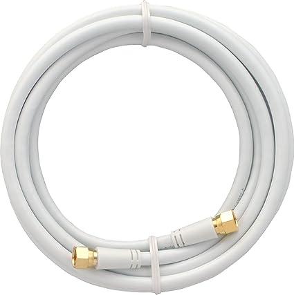 Skt mak30003 Cable de módem, 300 cm Coaxial de Conector de Cable, Conectores F Dorados Sat 3 Capas Color Blanco