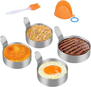 Egg Ring Stainless Steel Round Pancake Rings, Non Stick Omelet Molds Egg Rings Cooking Tool (1 pcs 3.5 inch and 3 pack 3 inch) With 1 Free Oven Glove and 1 Free Oil Bottle Brush and 1 Free Keyring