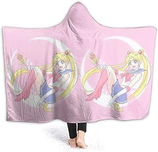 LJYDZY Hooded Blanket Beautiful Sailor Moon Print Super Soft Flannel Sherpa Plush Fleece Wearable Blanket -50