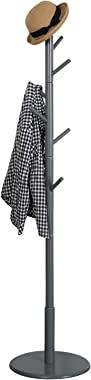 Vlush Wooden Coat Rack Free Standing, Coat Hat Tree Coat Hanger Holder Stand with Round Base for Clothes,Scarves,Handbags,Umb