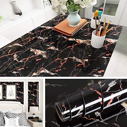 Livelynine Vinilo Marmol Negro Rojo Brillante Vinilo Adhesivo Para Encimera de Cocina Muebles de Baños Adesivos Vinilos Para Mesas Decorativos Papel Vinilo Adhesivo Cocina Resistente al Agua 40CMX2M