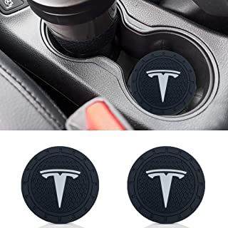 Wall Stickz 2.75 Inch Diameter Oval Tough Car Logo Vehicle Travel Auto Cup Holder Insert Coaster Can 2 Pcs Pack fit Tesla Accessory