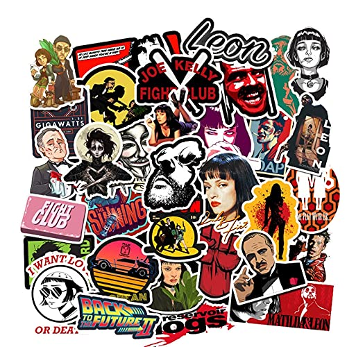 Movie Theme Stickers 50pcs Vinyl Waterproof Stickers for Laptop, Hydro Flask Water Bottle Car Cup Computer Guitar Skateboard Luggage Bike, Adult Kids Teens for Stickers Gift