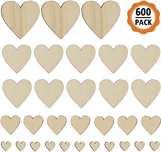 600pcs Corazones de Madera, Adornos de Madera Corazones para Bodas, Corazón para Manualidades para Bodas, Decoración, Artesanías y Presentes Día Enamorados (Tamaño 1/2/3/4cm)