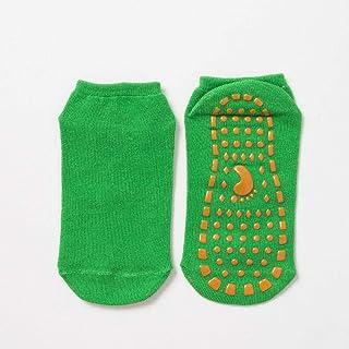 B/H, B/H Calcetines Tobilleros Transpirables,Transpirables Antideslizantes,Calcetines Antideslizantes de Silicona para niños, Antideslizantes y Transpirables - Verde Claro 5-12 años_6 Piezas