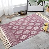 La alfombra Alfombra bordada de algodón y lino tejida a mano / Sala de estar...