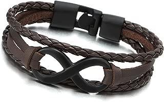 COOLSTEELANDBEYOND Infinity Love Number 8 Leather Bangle Bracelet for Men Women Three-Row Wristband