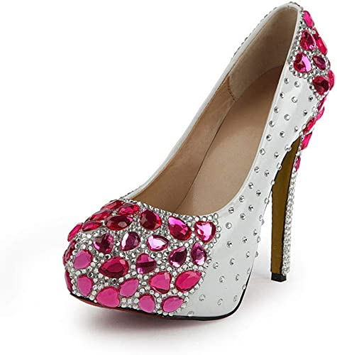 DCYU Chaussures de mariée en Cristal Cristal avec tête Ronde et Talons Hauts Chaussures de mariée (Couleur   Rose, Taille   36 FR)  magasin en ligne