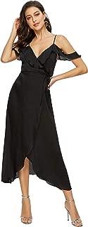 Women's Wrap Maxi Dress Floral Cold Shoulder High Low Split Party Dress