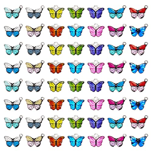 Bskifnn 56pcs Butterfly Pendant Charms for Jewelry Making DIY Craft Supplies for Necklace Bracelet Making Earring and More 14 Colors