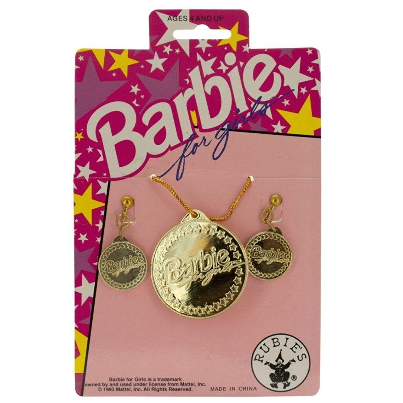 Barbie For Girls Gold Earrings & Necklace Set PC290