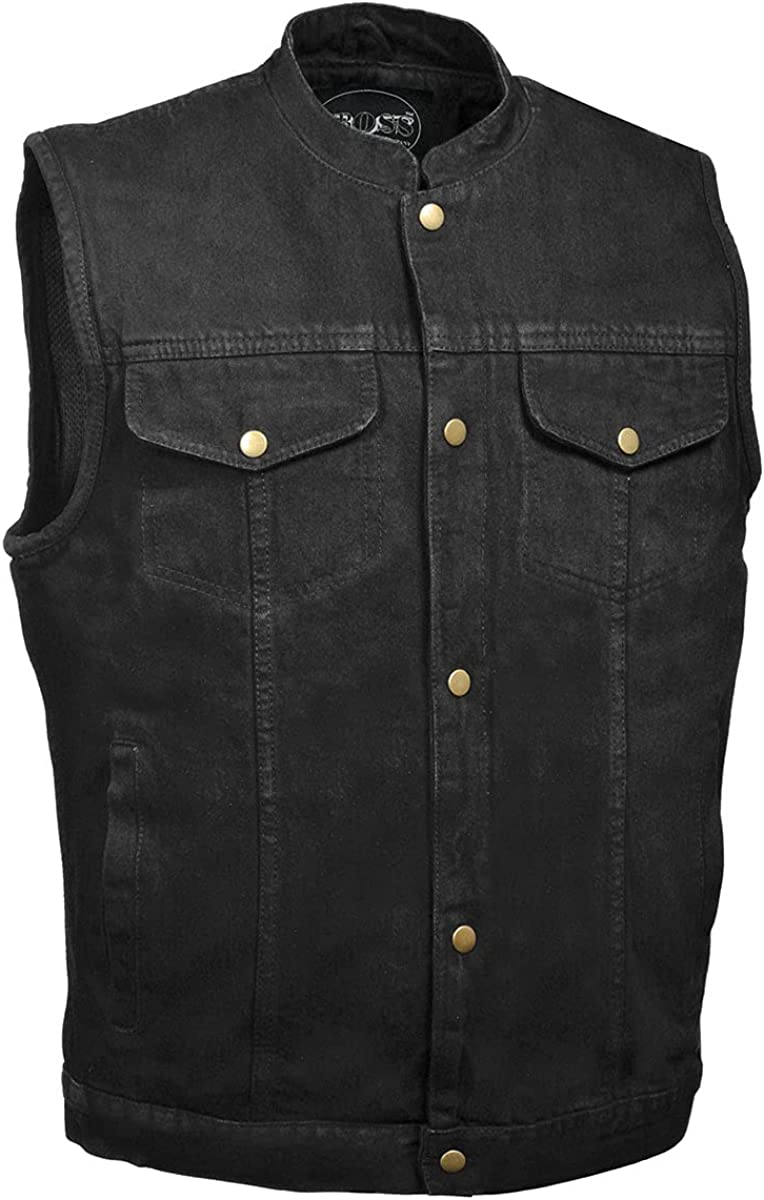 M Boss Motorcycle Apparel Apparel BOS13520 Mens Black Snap Front Denim Club Style Vest with Gun Pocket - 8X-Large