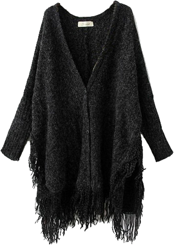 ELLAZHU Women Knit Tassels Batwing Cardigan Oversized Cape Onesize NL06