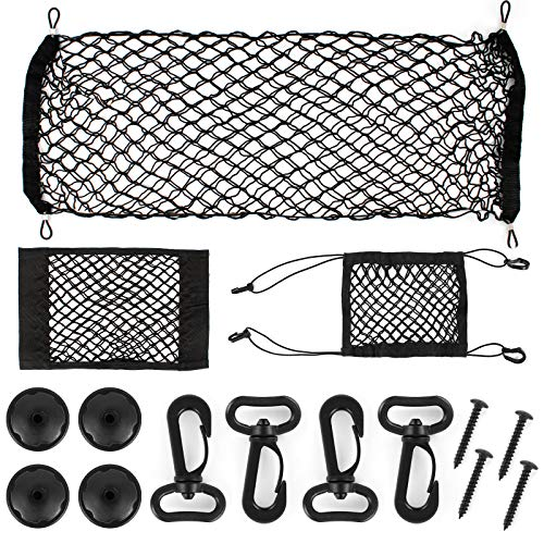 Huayue 3 Pack Car Cargo Net and Pack Car Storage Net Pocket, Car Luggage Net Trunk Universal Boot Elastic Nylon Mesh Adjustable Cargo Organizer with 4 Hooks and Screws (90x40cm, 30x27cm, 37x24.5cm)