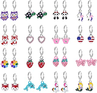 16 Pairs Hypoallergenic Silver Mini Cute Dangle Hoop Earrings for Teen Girls-Pink Animal Earrings for Girls And Women-Colo...