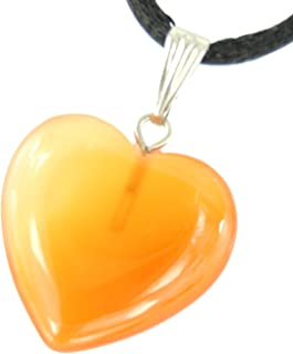 Steampunkers USA Big Heart Collection - 20mm Classic Red Agate Carnelian Orange - 20-22 inch Black Cord – Crystal Gemstone Carved Necklace Charm Handmade