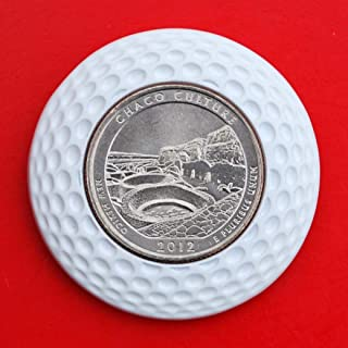 US 2012 New Mexico Chaco Culture National Historial Park Quarter BU Uncirculated Coin 3D Design 4 Leaf Clover Removable Golf Ball Marker Magnetic Poker Chip - America the Beautiful