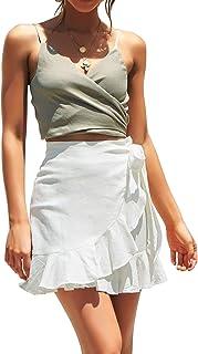 Womens High Waist Ruffle Hem Tie Wrap Skirt Summer Casual...
