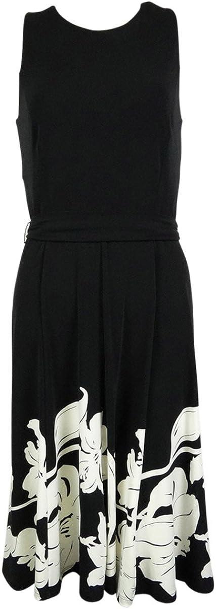 Ralph Lauren Lauren Sleeveless A-Line Floral Print Dress Black & White