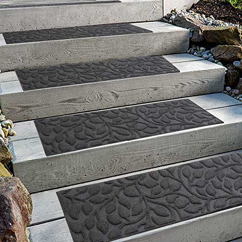 Comme Rug Stair Treads with Rubber Backing,Set of 6,8.5' x 30',Non-Slip,Indoor Outdoor Step treads,Floral Grey Pattern
