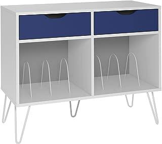 Novogratz 1323817COM Concord Turntable Stand, White/Blue