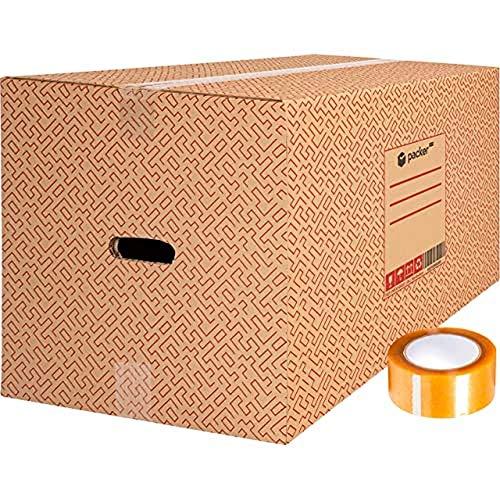 packer PRO Pack 10 Cajas Carton para Mudanzas y Almacenaje Ultra Resistentes con Asas y Cinta Adhesiva 600x400x400mm