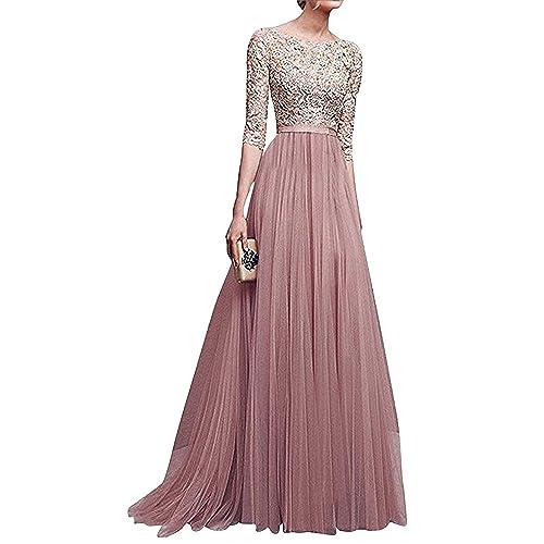 e5978fdf0376 Minetom Donna Vestito Lungo Abito Da Cerimonia Elegante Vestiti Da  Matrimonio Lunghi Formale Banchetto Sera Maxi