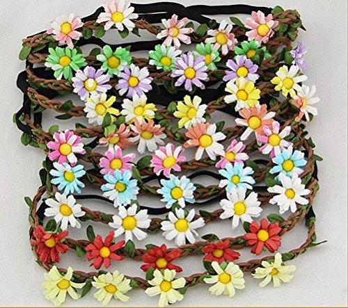 Cuhair (tm) 10pcs été fleur plage chrysanthème élastique femme fille Bandeau Coupe-cheveux Bande de cheveux accessoires pour cheveux