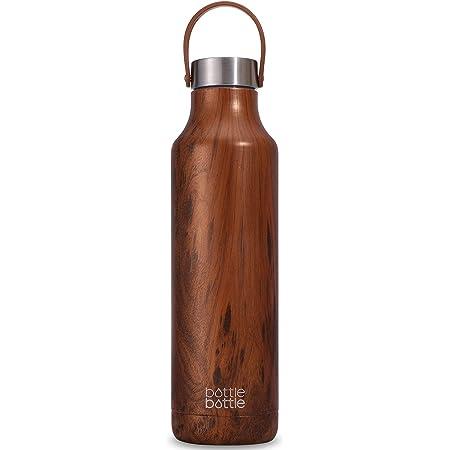 水筒 600ml 子供 直飲み ステンレスボトル 保温保冷 真空断熱 ボトル マグボトル 軽量 ステンレス ウォーターボトル アウトドア 持ち運び ボトル ブラシ付き 木目