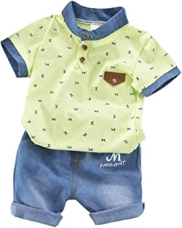 Weixinbuy Toddler Baby Boy Summer Clothes Short Sleeve T-Shirt Top + Shorts Outfit Set